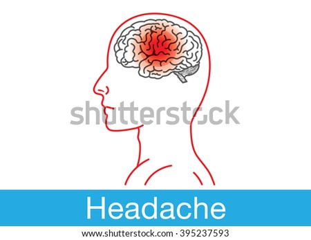Side view of human brain have a red point sign on brain area which meaning headache - stock vector