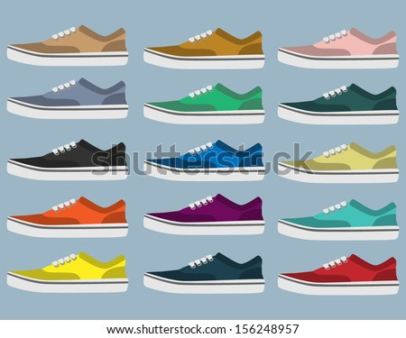 Side view of sneakers in different colors - stock vector