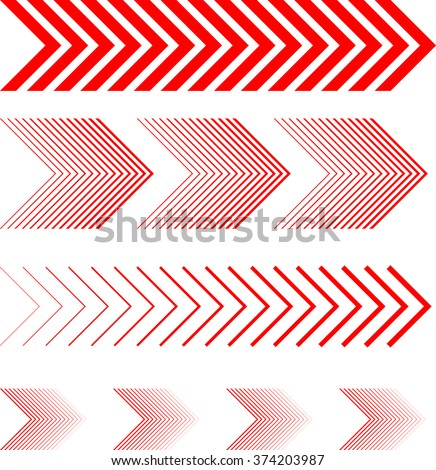 sideways Set . Linear signs collection. Arrow Design .four elements for your design.Striped direction. vector illustration - stock vector
