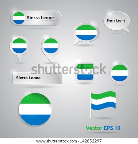 Sierra Leone icon set of flags | green white blue template | Sierra Leone - stock vector