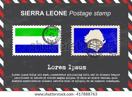 Sierra Leone postage stamp, vintage stamp, air mail envelope. - stock vector