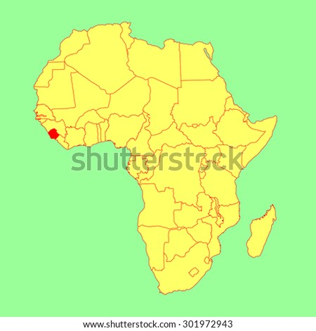 Sierra Leone vector map isolated on Africa map. Editable vector map of Africa.  - stock vector