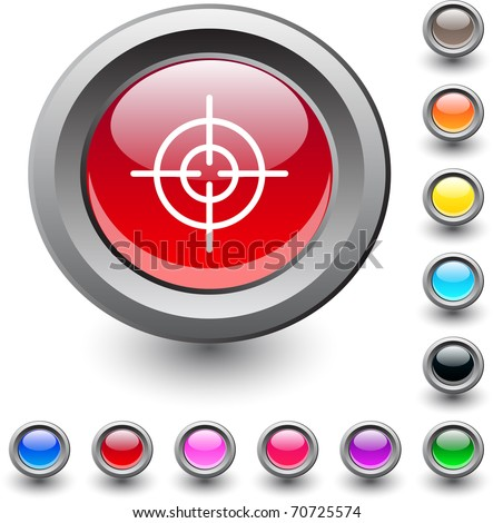 Sight  metallic vibrant round icon. - stock vector