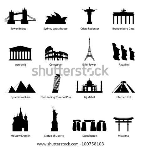 Sights icons - stock vector