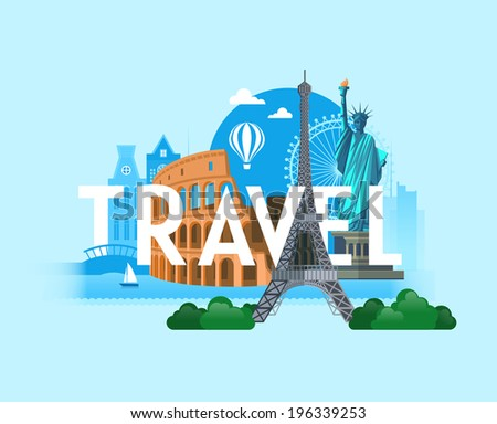 Sights of the biggest cities in the world. Vector background - stock vector