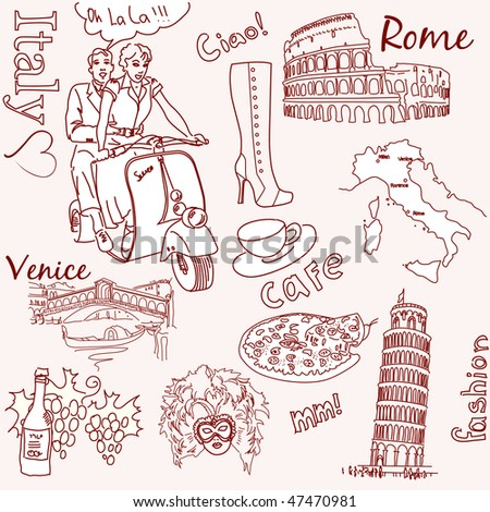 Sightseeing in Italy doodles - stock vector