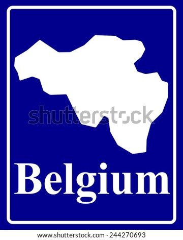 sign as a white silhouette map of Belgium with an inscription on a blue background - stock vector