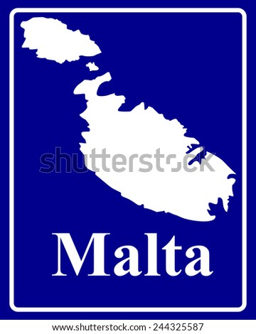 sign as a white silhouette map of Malta with an inscription on a blue background - stock vector