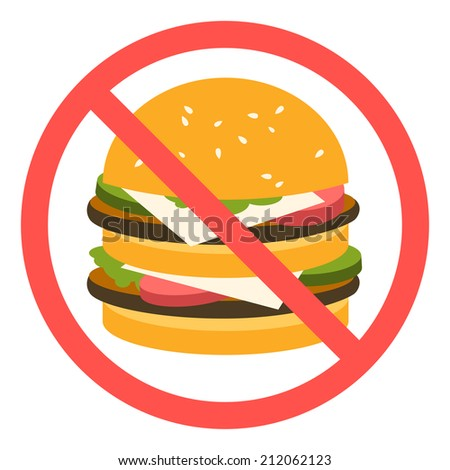 sign banning fast food. - stock vector