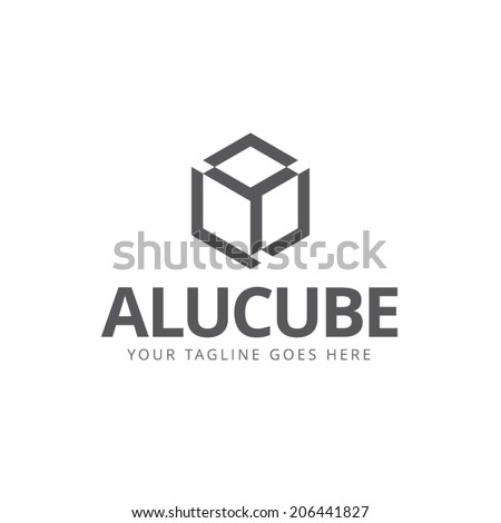 sign box silhouette black and white cube - stock vector