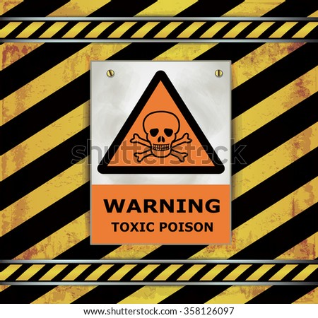 Sign caution blackboard warning toxic poison vector - stock vector