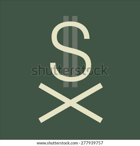 Sign dollar crisis - stock vector