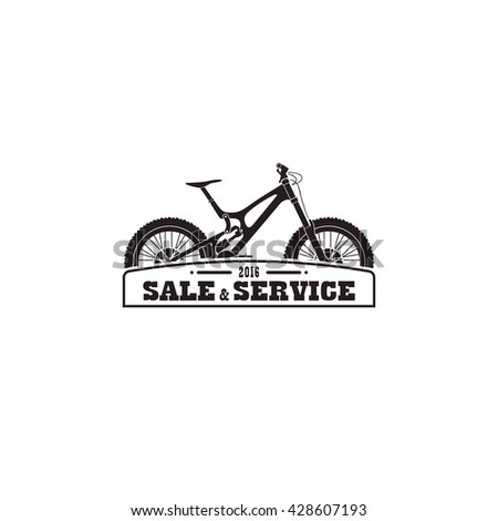 Sign, logo  emblem for sale, service bicycle. - stock vector
