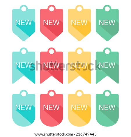 Sign New labels collection. Flat design with long shadow. Vector illustration  - stock vector