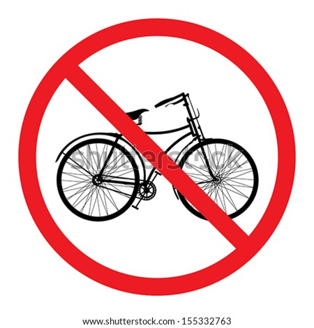 sign no bicycle - stock vector