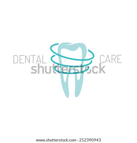 Sign of a single tooth with circle lines around. Solid flat colors. - stock vector