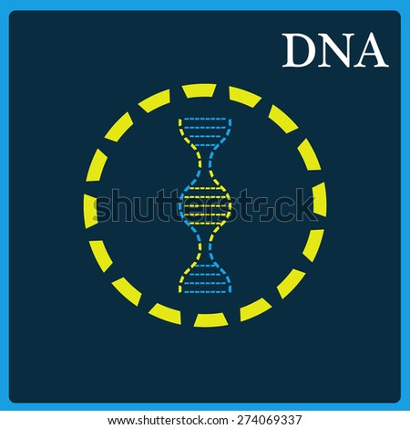 Sign of DNA on a blue background, vector graphics, cover, background, texture. - stock vector