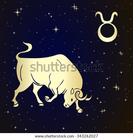 Sign of the zodiac Taurus is the starry sky, vector Illustration.  Contour icon. - stock vector