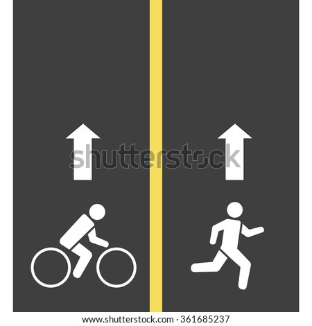 Sign runner and bicycle    on the road, Vector  illustration - stock vector