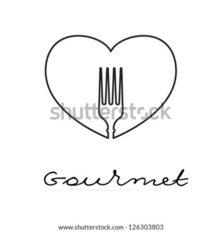 Sign template - gourmet. Heart and silhouette of a fork. Vector. - stock vector