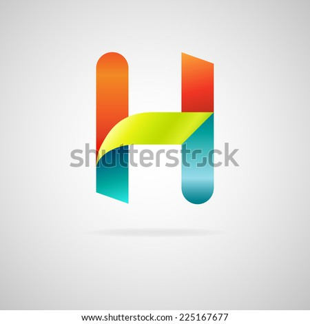 Sign the letter H.color ribbon business logo icon - stock vector