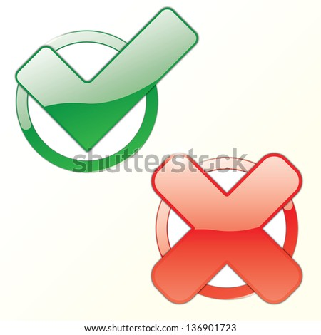 sign tick and cross in frame. vector eps10 - stock vector