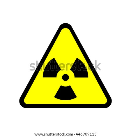 Sign toxic. Warning radioactive zone in triangle icon isolated on white background. Color radioactivity image. Dangerous radiation area symbol. Chemistry poison plane mark. Stock vector illustration - stock vector