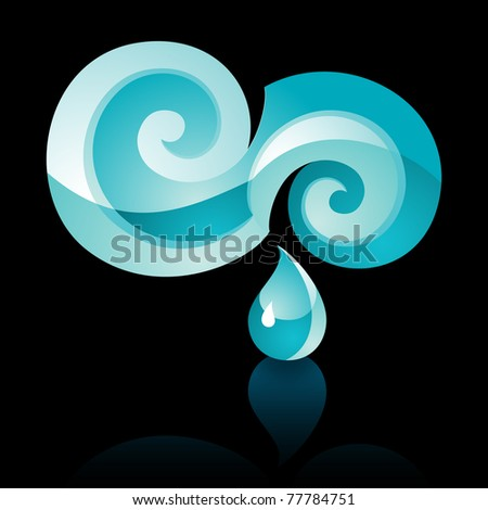 Sign turquoise Water with reflection. 10 EPS - stock vector