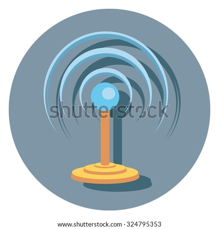 signal flat icon in circle - stock vector