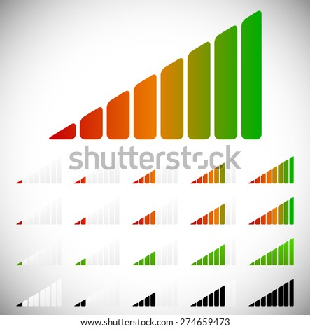 Signal strength, progress or level indicators with 8 steps. - stock vector