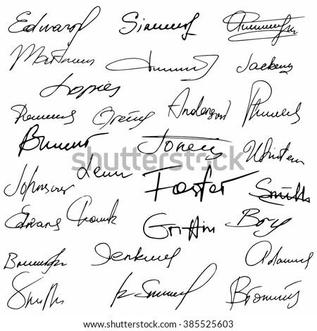 Signatures set fictitious contract signatures business autograph illustration - stock vector