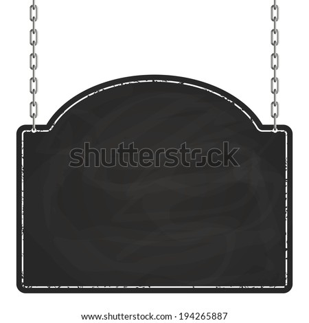 Signboard hanging on chains - stock vector
