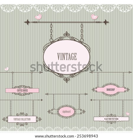 Signboard set with lace and birds. - stock vector