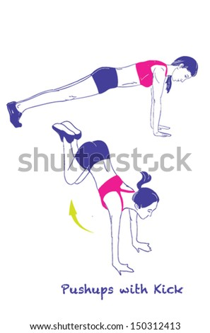 Signed Sports silhouettes of woman doing exercises, Kick - stock vector