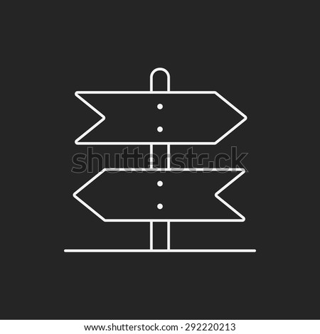 signpost line icon - stock vector