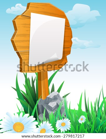 Signpost. wooden sign boards on meadow.  Vector illustration - stock vector