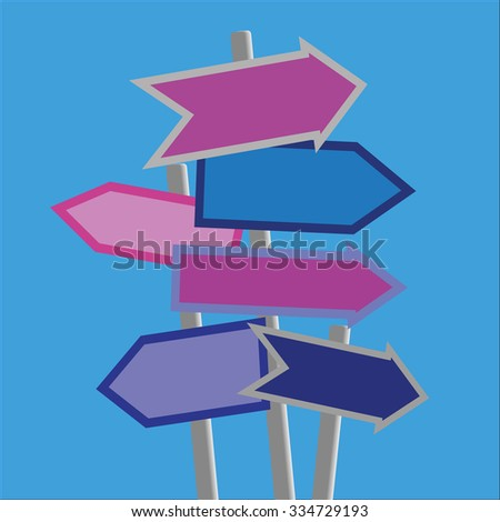 Signposts and direction arrows in shades of blue and purple on posts with copy space - stock vector