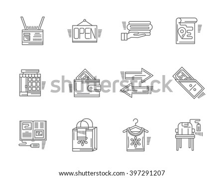Signs and elements of commission shop. Payment, items and goods, shop facade and other elements. Set of flat black line vector icons. Elements for web design and mobile. - stock vector