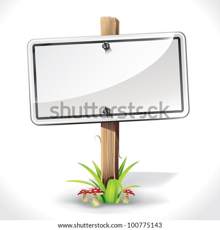 Signs Board hanging with wood pole on a grass and mushrooms. vector illustration - stock vector