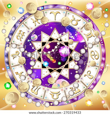 signs of the zodiac, astrological circle in space, abstract background, vector illustration - stock vector