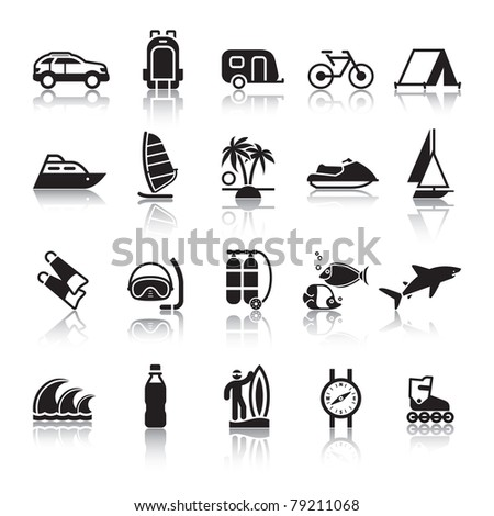 Signs. Tourism. Travel. Sports. Fourth set black icons with reflection - stock vector