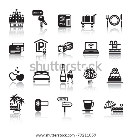 Signs. Tourism. Travel. Sports. Third set black icons with reflection - stock vector