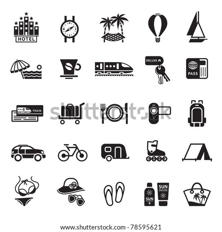 Signs. Vacation, Travel & Recreation. Second set icons in black - stock vector
