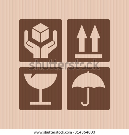 Signs warehouse packing in cardboard texture - stock vector