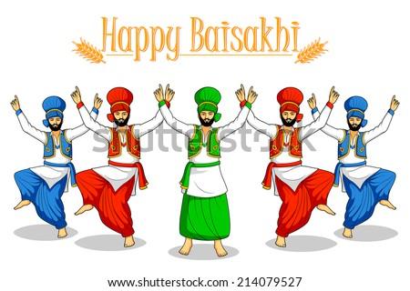 Sikh doing Bhangra, folk dance of Punjab, India in vector - stock vector