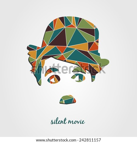 Silent film poster with Charlie Chaplin Silhouette. Polygonal design. - stock vector