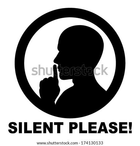 silent please, be quiet , sign vector - stock vector