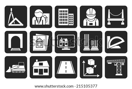 Silhouette architecture and construction icons - vector icon set - stock vector
