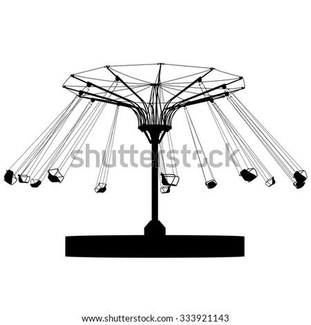 Silhouette attraction colorful ferris wheel. Vector illustration. - stock vector