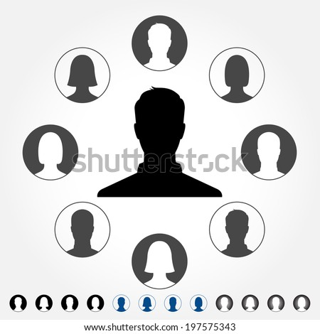 Silhouette avatar profile pictures - vector icon set - stock vector